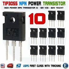 10pcs Tip3055 Power Transistor Npn 60v 15a To 247 Bipolar