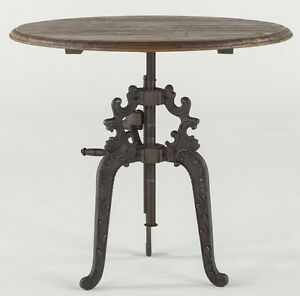 39 Quot Round Crank Bar Table Iron Industrial French Wood Top