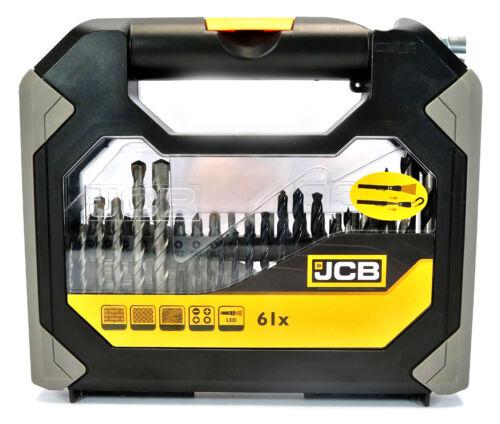 JCB Pro Set 61tlg lampe de poche Bits Perceuse Clés à douille métal perceuse pesons
