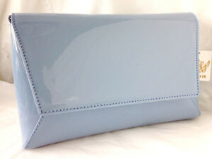 b1b7c83e0a3b6 NEW PASTEL BLUE FAUX PATENT LEATHER EVENING DAY CLUTCH BAG WEDDING ...