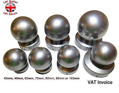 """Round Metal Fence Gate Post Cap Caps Flange From 42mm to 102mm /""""Ball Top/"""""""