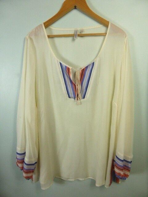 PIPER WOMAN cream kaftan style long sleeve Boho blouse Dress top sz 20