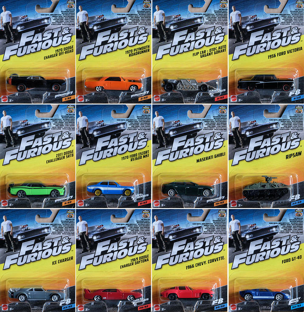 Fast & Furious Set 12 modellini di auto Dodge Ford 1 55 MATTEL fcf60 come Hot Wheels