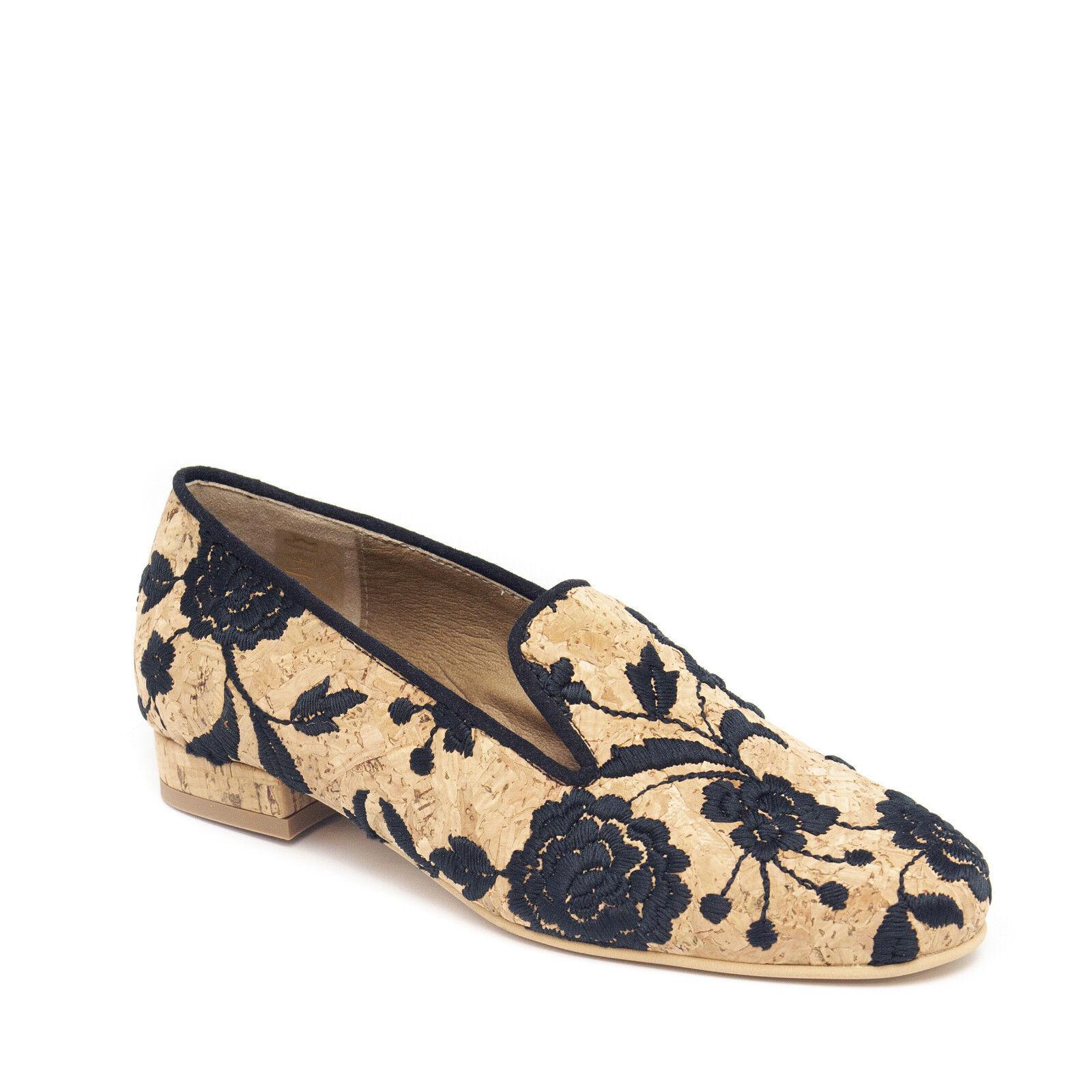 Mujer Mocasín Zapatos Planos Vegano hecha hecha hecha de corcho orgánica Bordado en patrón de flor  directo de fábrica