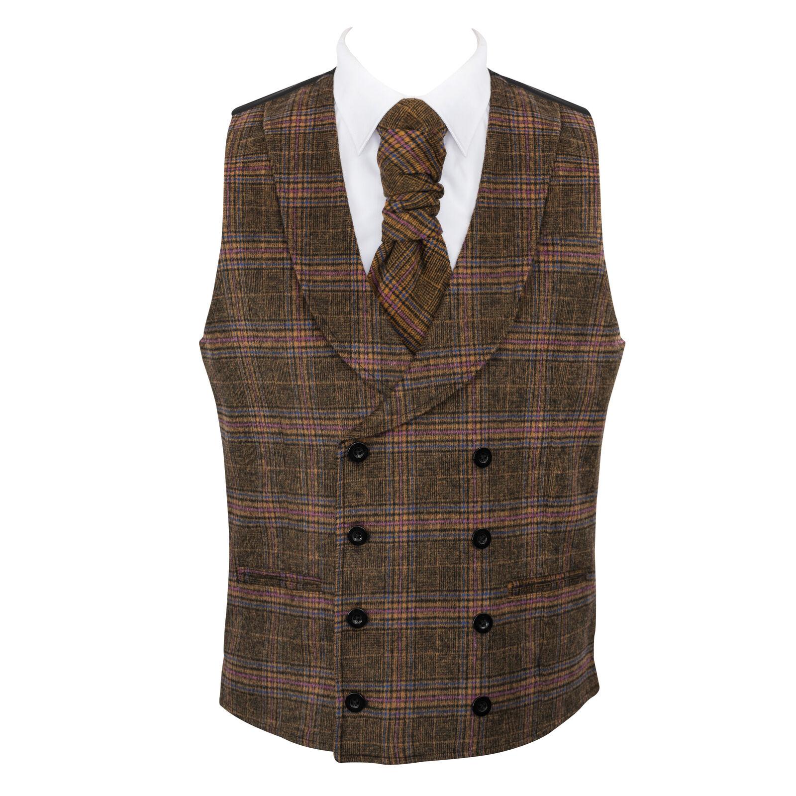 UK Men's Wedding Waistcoat Overcheck 6 Button Jacquard Suit Vest Tailored Fit V
