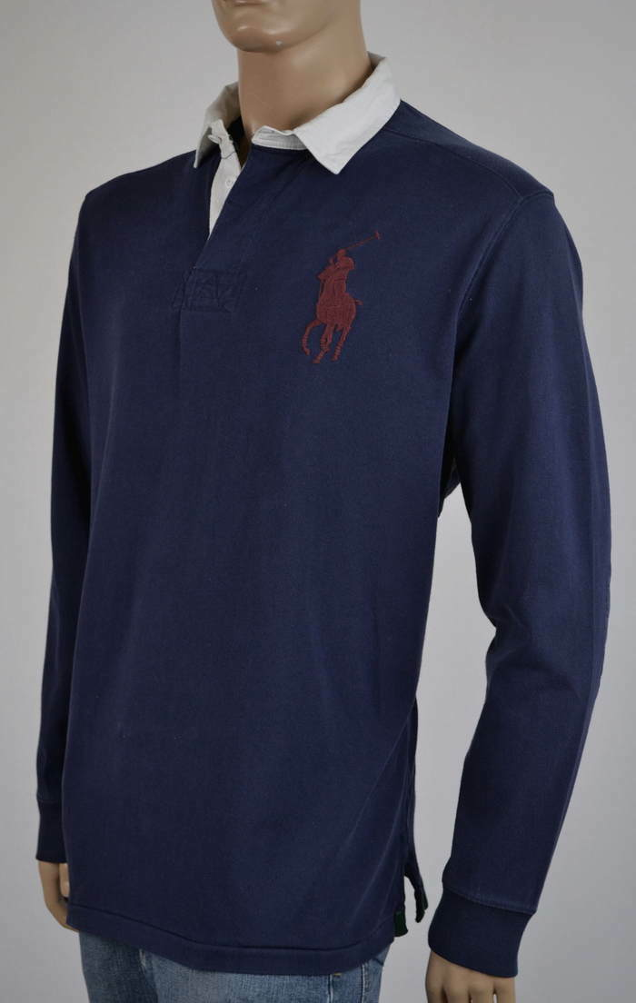 Ralph Lauren Navy bluee Long Sleeve Rugby Shirt Burgundy Big Pony -NWT-