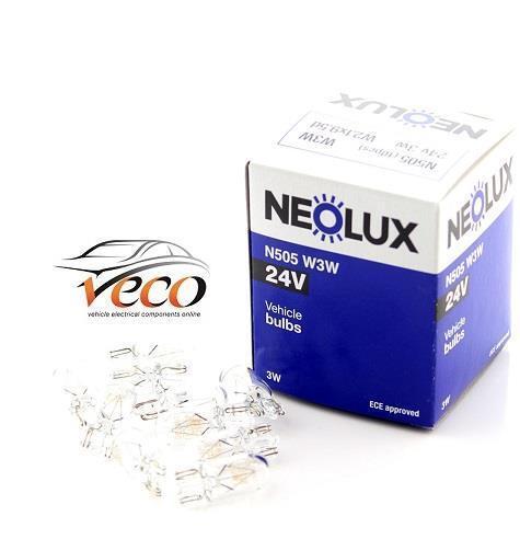 NEOLUX OSRAM 24 VOLT 24V W3W WATT W3W T10 WEDGE N505 AUTO LIGHT BULBS BOX OF 10