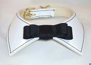 46be86641daa Details about Designer Dog Collar White Patent Leather Black Bow Tie  Premium USA handcrafted