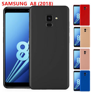 Samsung-Galaxy-A8-2018-Coque-Housse-Etui-Silicone-Opaque-Antichoc-Verre-Trempe