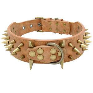 5cm-Wide-Sharp-Spikes-Studded-Leather-Medium-Large-Dog-Collars-Pitbull-Dobermans