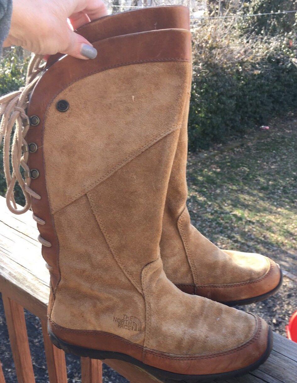 North Face Boots Women's PrimaLoft Tan Brown Suede Side Zip Lace-up Fleece 6.5