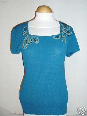 NWT Dana Buchman Plume Blau Knit Embroiderot Top M
