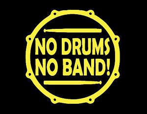 """Aucune Batterie Aucune Bande Autocollant Vinyle 5x5"""" Jaune Tambour Percussion Cymbales Sticks-afficher Le Titre D'origine"""