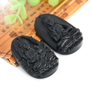 Men-Women-Black-Natural-Obsidian-Carved-Buddha-Pendant-For-Necklace-Gift