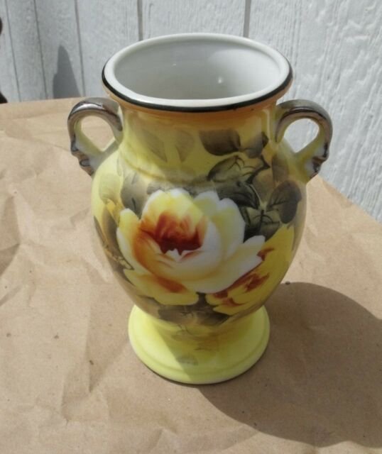 Vintage 5 Hand Painted Gold Castle Chikusa Vase Japan Yellow Roses
