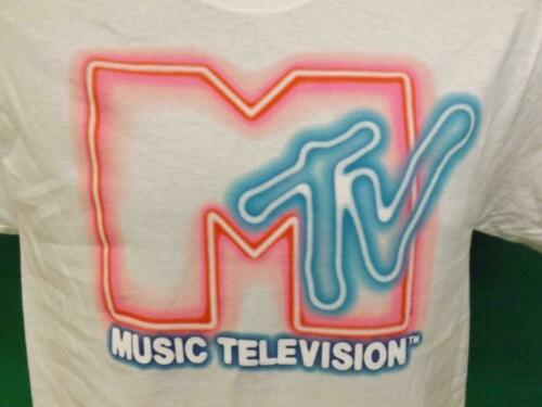 New Classic MTV Colorful Adult Mens Sizs S-M-L White Retro Look Shirt