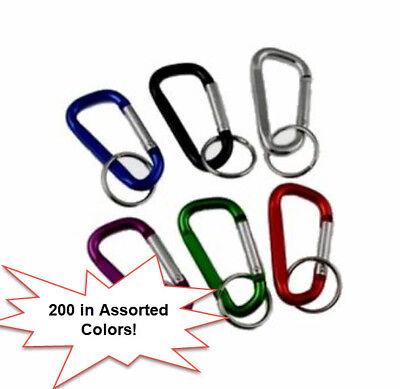 "Lot 120 Aluminum Carabiner Spring Belt Clip Key Chain 3/"" Silver Wholesale USA"