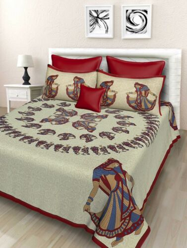 Indian Beautiful Dancing Lady 100/% Cotton King Size Bed Sheet Two Pillow Cover