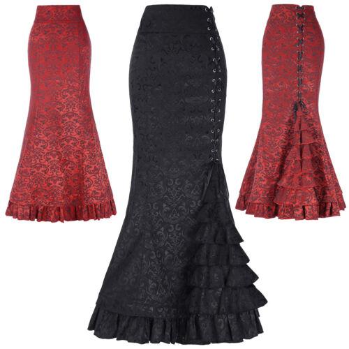 Gothic Mermaid schnüren Röcke Steampunk Godetrock Ball Abendkleid Rüschenrock
