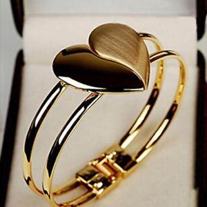 Gold-Liebe-Herzform-Armreif-Frauen-Manschette-Charm-Armband-Handkette-iGRYp