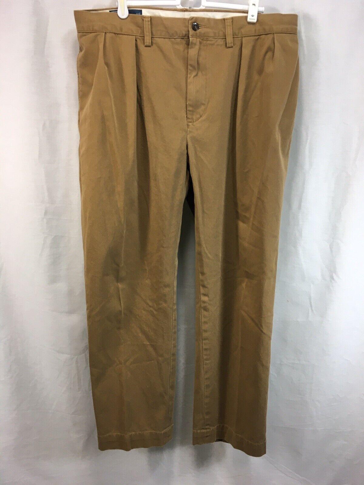 Polo Ralph Lauren Pants Mens 36 30 Beige 100% Cotton Ethan Pant Pleated Front