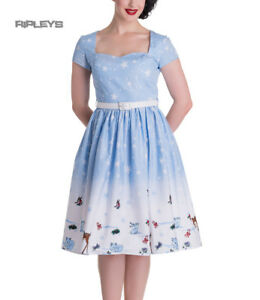 HELL-BUNNY-Christmas-50s-Dress-NOELLE-Snowflake-Blue-All-Sizes