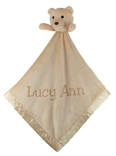 Personalized with Name 40x40 Plush Teddy Bear Fleece Security Blanket for Baby