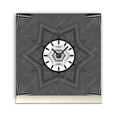 KöStlich Tischuhr 30cmx30cm Inkl. Alu-ständer -abstraktes Design Stern Anthrazit Geräusc Buy One Give One