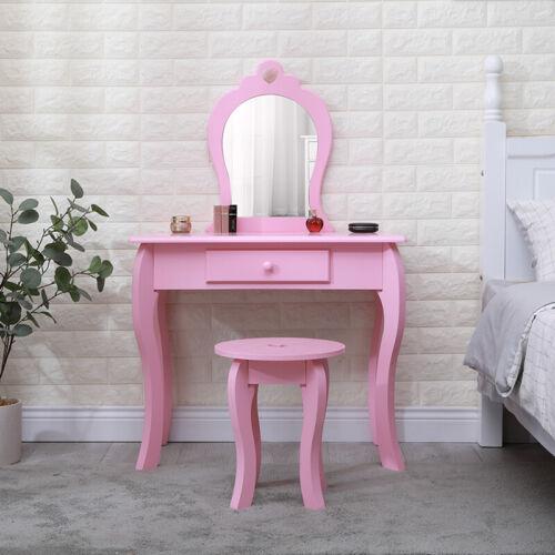 Girls Dressing Table with Mirror Stool Drawer Little Vanity Table Set Children