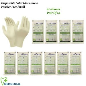 Pair-Of-10-Disposable-Latex-Gloves-New-Natural-Rubber-Powder-Free-Size-Small