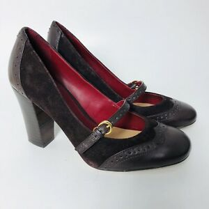 9b49e17ef Tommy Hilfiger Mary Jane Loafers Pumps Brown Block Heels Leather ...