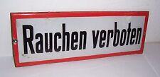 """Schönes Emailschild """" Rauchen verboten """" roter Rand Schriftschild loft vintage !"""