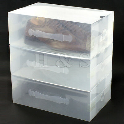 5 x Heavy Duty Mens Stackable Foldable Plastic Shoe Storage Box Organiser Clear
