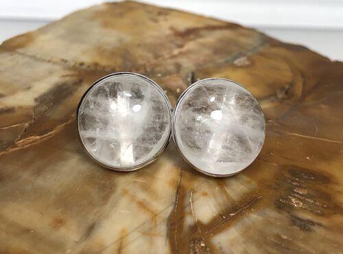 12 Mm Quartz Naturel Transparent Argent Sterling 925 Boucle d/'Oreille Clous