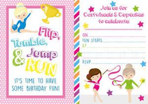 10 x Gymnastics Birthday Children Party Invitations or Thank you