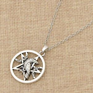 Details about 1pc Pentacle Pentagram Norse Viking Raven Necklace Slavic  Amulet Jewelry for Men