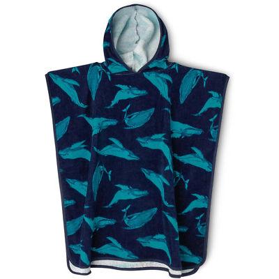 NEW Milkshake Whale Print Hooded Towel Blue