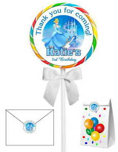 40 CINDERELLA BIRTHDAY PARTY STICKERS ~  for lollipops, goody bags, seals, etc