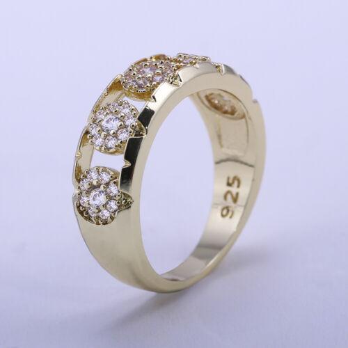 Magnifique 18k or jaune plaqué Femmes Anneau Blanc Saphir Bague de mariage Taille 6-10