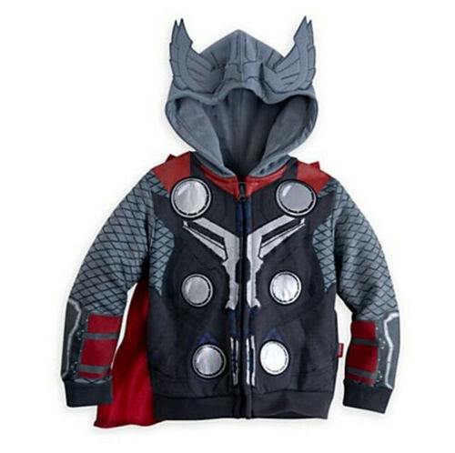 Kids Boys Superhero Costume Hooded Jacket Coat Hoodie Sweatshirt Sweater Outwear