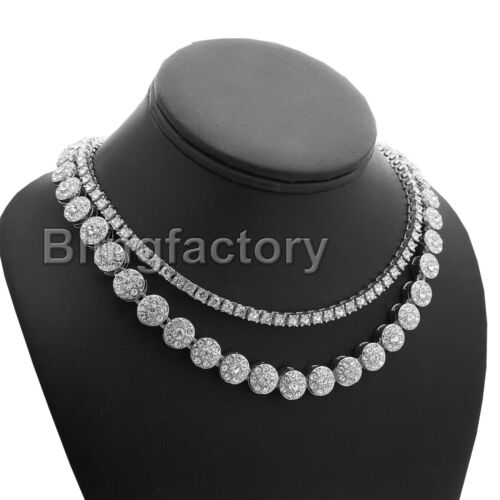 """Hip Hop Iced out 18/"""" Flower Cluster /& 1 Row Tennis Choker Chain Necklace Set"""