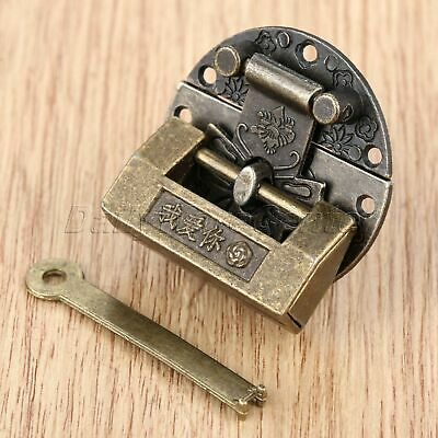 Chinese Style Jewelry Box Padlock Lock Latch Buckle Clasp Antique Bronze 1Set
