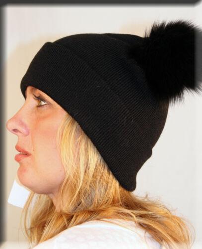 New Black Knit Beanie Fox Fur Pom Pom Efurs4less