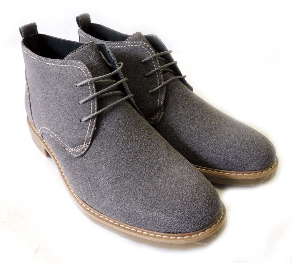 NEW FASHION MENS ANKLE BOOTS FAUX SUEDE LEATHER LINED CHUKKA LACE UP SHOES  GREY