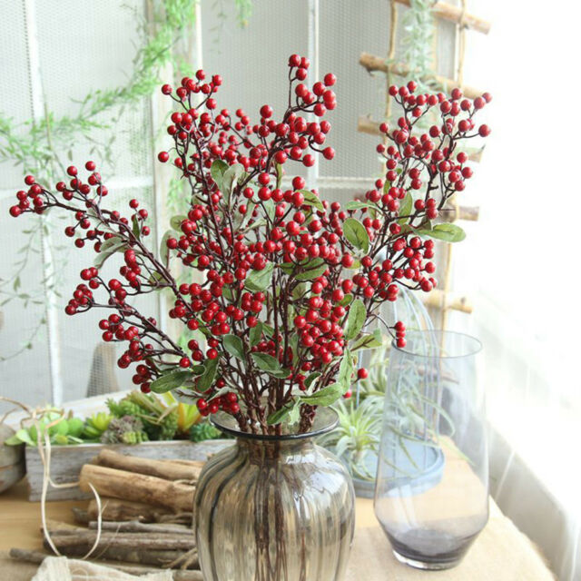 57cm Christmas Red Berry Holly Leaves Branch Artificial Flower Pick DecorationIJ