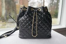 20b76905bb35 AUTH Michael Kors Purse Frankie Quilted Leather Large Drawstring Crossbody  Bag