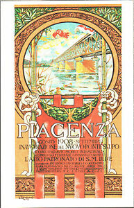 CARTOLINA-D-039-EPOCA-PIACENZA-INAUGURAZIONE-DEL-NUOVO-PONTE-SUL-PO-1908-Riprod