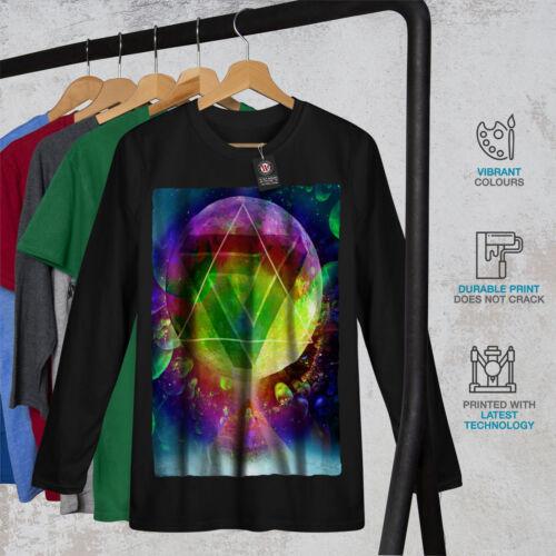 Psychedelic Cosmo Spazio Uomo Manica Lunga T-shirt Nuovewellcoda