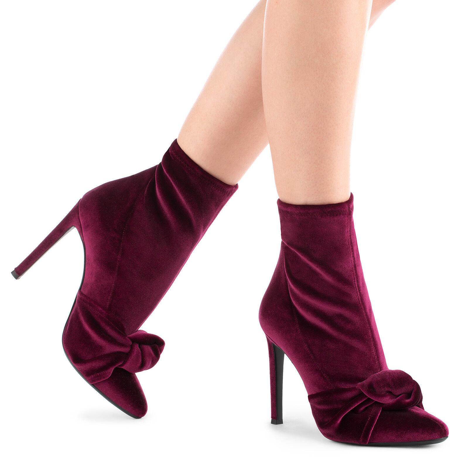 Kvinnor Stilettos Bow Pointed Toe Solid Mid Calf stövlar stövlar stövlar Mode Booslipss Plus Storlek  online outlet försäljning