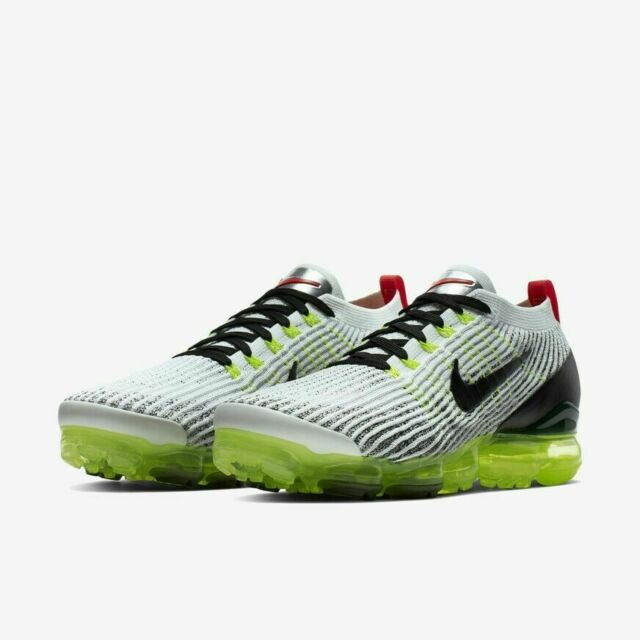 new arrival cd6f6 395f8 Nike Air VaporMax Flyknit 3 White Volt Crimson Black Shoes AJ6900-100 Men's  NEW